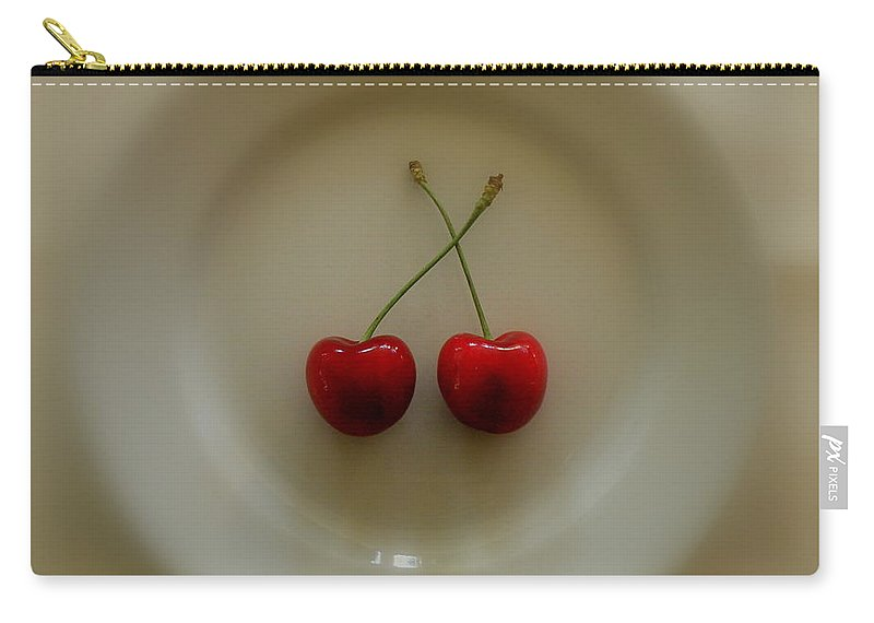 Cherries Carry-all Pouch featuring the photograph Two Cherries On A Plate by Lainie Wrightson