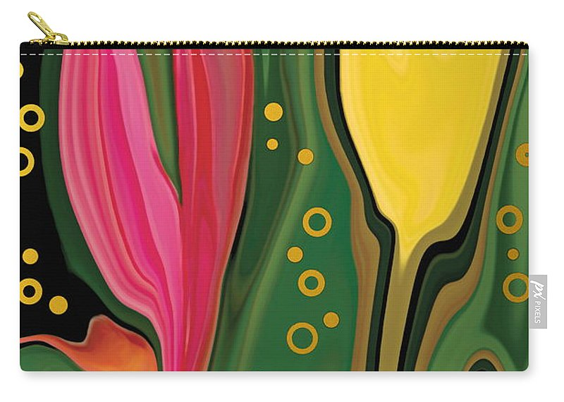 Botanical Carry-all Pouch featuring the painting Two Flowers by Rabi Khan
