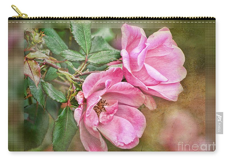 Nature Carry-all Pouch featuring the photograph Two Pink Roses II Blank Greeting Card by Debbie Portwood