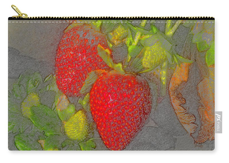 Art Carry-all Pouch featuring the painting Two Strawberries by David Lee Thompson