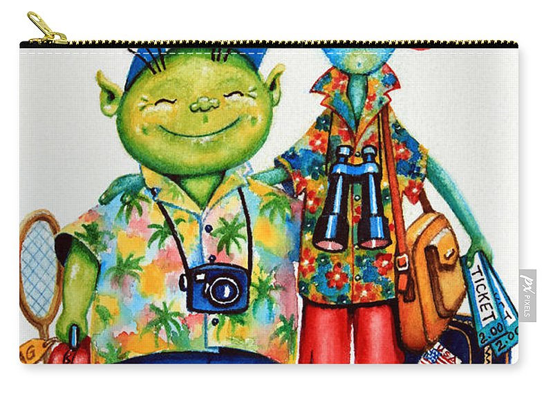Canadian Kid's Book Author Carry-all Pouch featuring the painting Two Tourists True by Hanne Lore Koehler