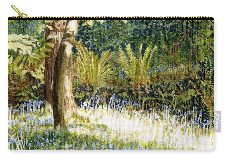 Sunlit Bluebells Carry-all Pouch featuring the painting Sunlit Bluebells Llanina Ceredigion by Edward McNaught-Davis