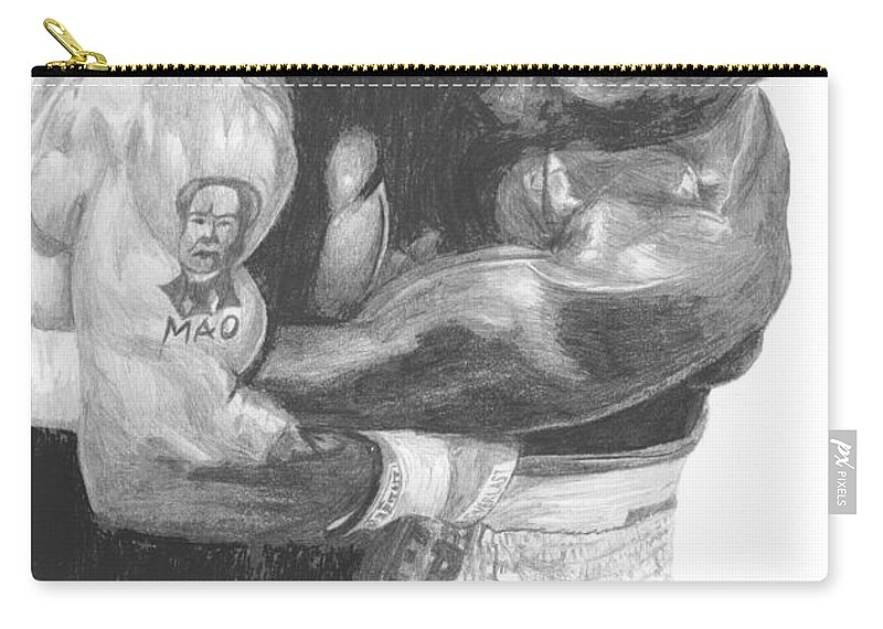 Mike Tyson Carry-all Pouch featuring the drawing Tyson Vs Holyfield by Tamir Barkan