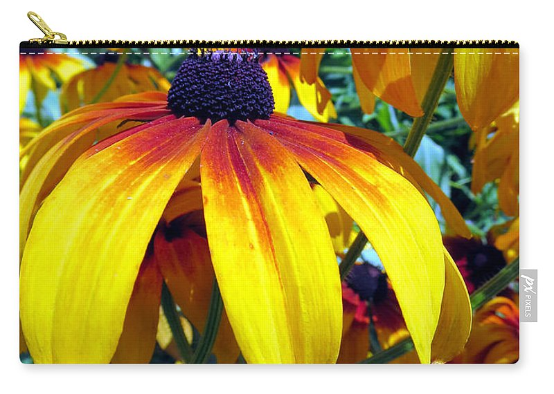 Bright Carry-all Pouch featuring the photograph Umbrellas by Art Dingo