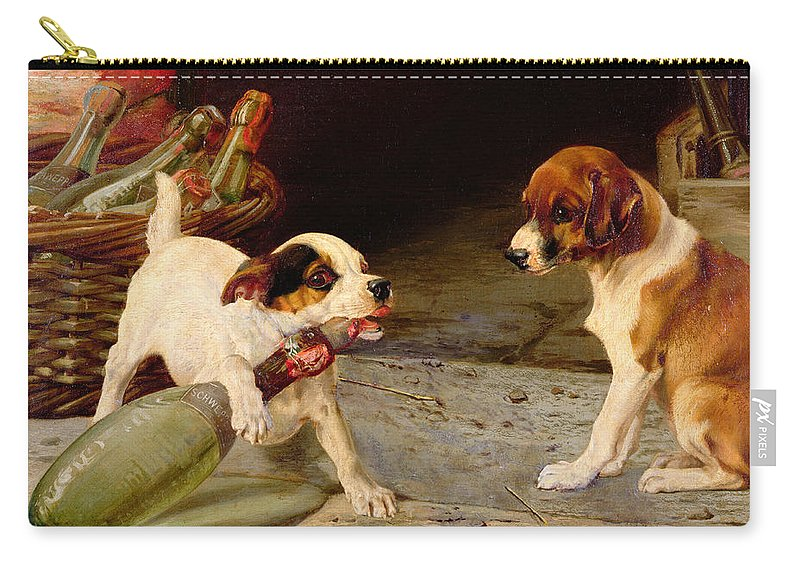 Uncorking The Bottle Carry-all Pouch featuring the painting Uncorking The Bottle by William Henry Hamilton Trood