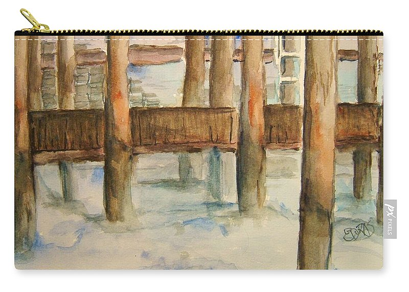 Dock Carry-all Pouch featuring the painting Under The Docks by Elaine Duras