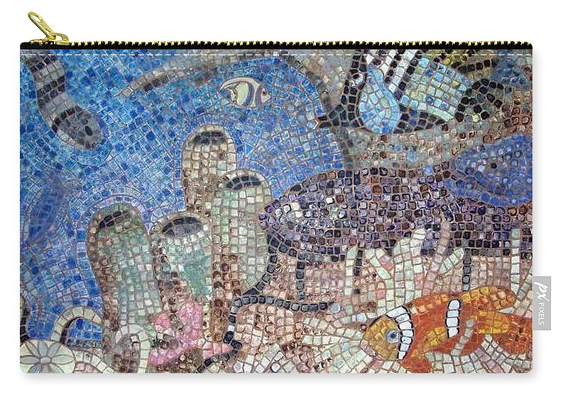 Mosaic Carry-all Pouch featuring the painting Under The Sea by Cynthia Amaral