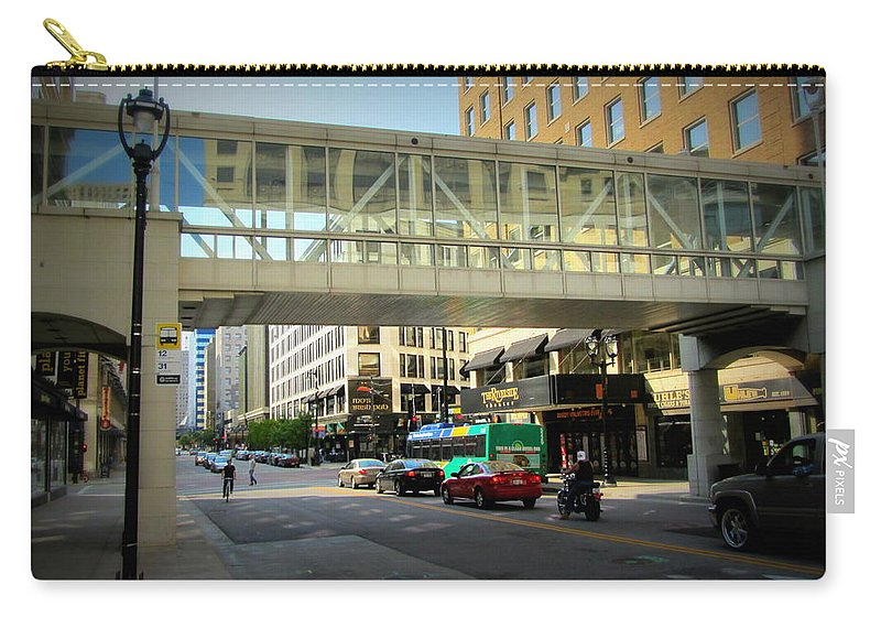 Milwaukee Carry-all Pouch featuring the photograph Under The Skywalk - Street Lamp by Anita Burgermeister