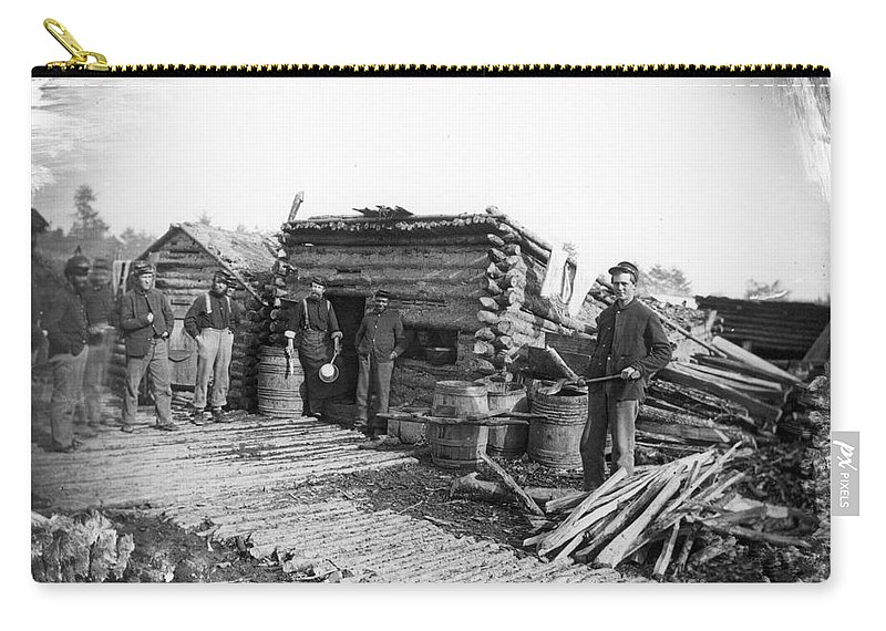 1864 Carry-all Pouch featuring the photograph Union Camp Kitchen, 1864 by Granger