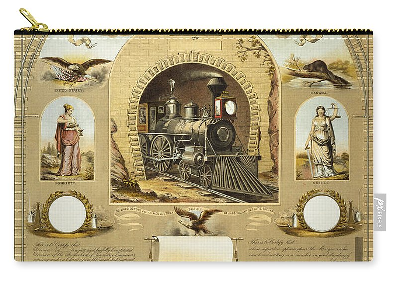 1877 Carry-all Pouch featuring the photograph Union Certificate, 1877 by Granger