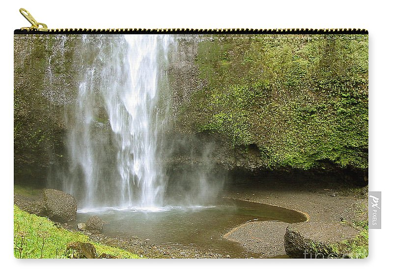 Waterfall Carry-all Pouch featuring the photograph Upper Cascade Pool Multnomah Falls Or by Julia Springer