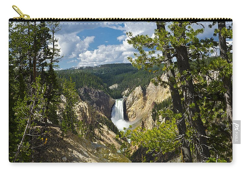 Yellowstone National Park Carry-all Pouch featuring the photograph Upper Falls II by Jon Berghoff