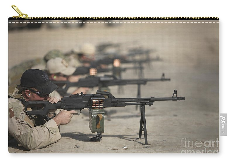 Kunduz Carry-all Pouch featuring the photograph U.s. Soldiers Firing Pk 7.62 Mm by Terry Moore
