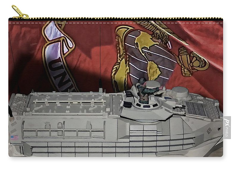 Usmc Amphibious Assault Vehicle Aav7 Carry-all Pouch featuring the digital art Usmc Aav7 by Tommy Anderson