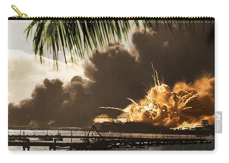 History Carry-all Pouch featuring the photograph U S S Shaw Pearl Harbor December 7 1941 by Photo Researchers