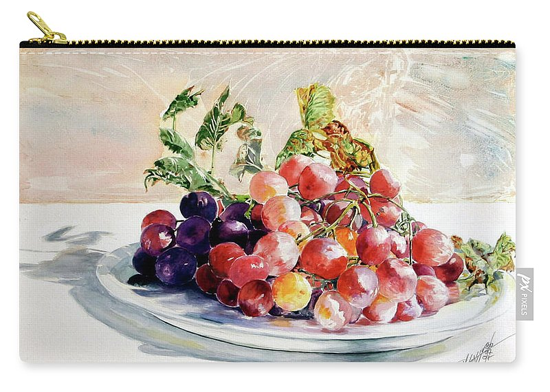 Still Life Carry-all Pouch featuring the painting Uva Rossa Su Piatto by Giovanni Marco Sassu