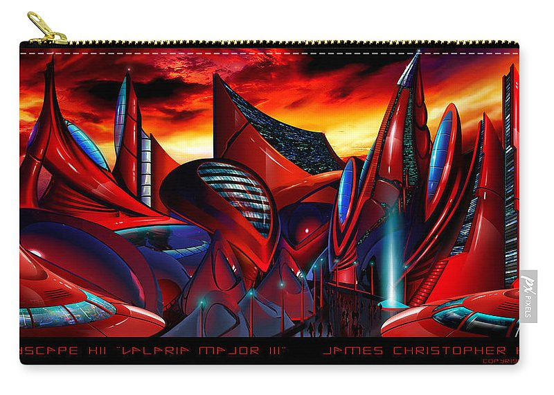 Science Fiction City Carry-all Pouch featuring the painting Valaria Major III by James Christopher Hill