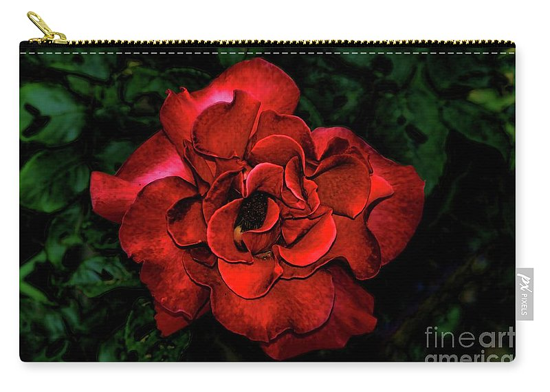 Valentine Rose Carry-all Pouch featuring the photograph Valentine Rose by Mariola Bitner
