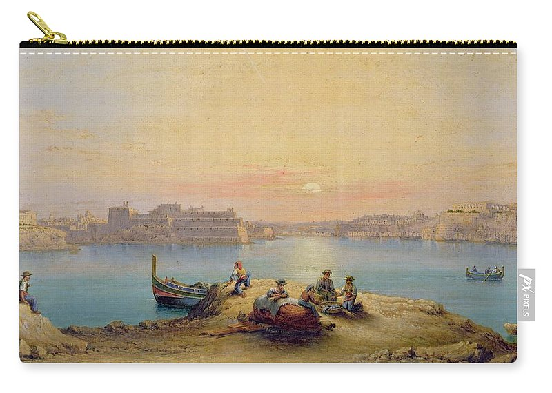Valetta Harbour At Sunset Carry-all Pouch featuring the painting Valetta Harbour At Sunset by Henry Charles Ferro