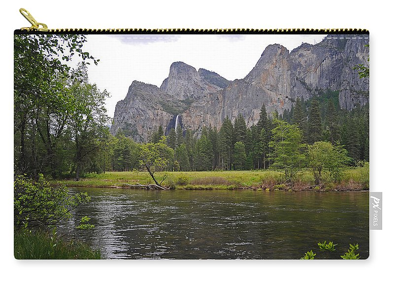 Yosemite Carry-all Pouch featuring the photograph Valley View Of Bridalveil Falls by Lynn Bauer
