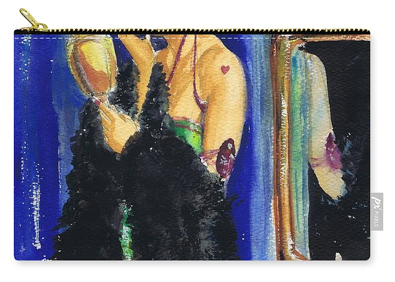 Woman Carry-all Pouch featuring the drawing Vamp With Mirrors by Mel Thompson