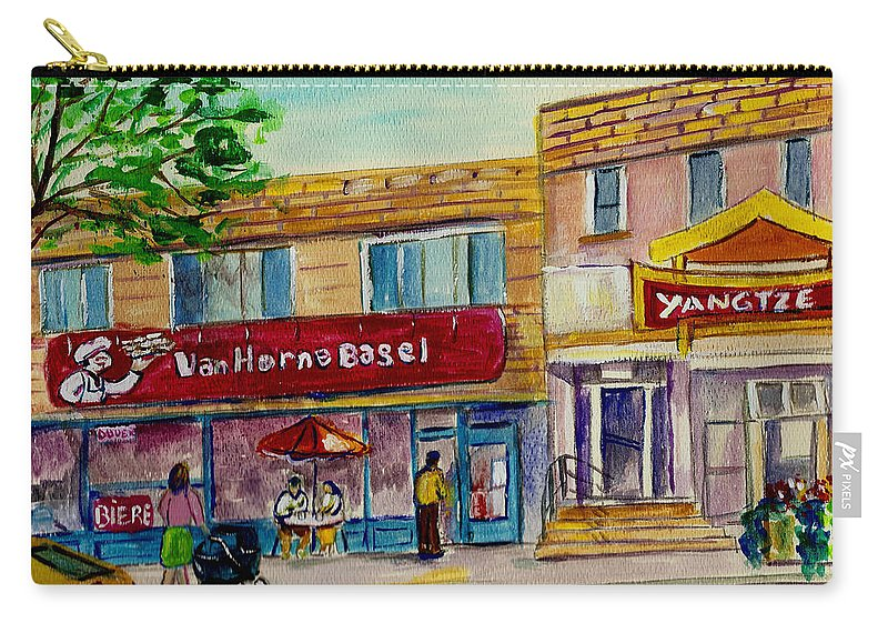 Carry-all Pouch featuring the painting Van Horne Bagel And Yangtze Restaurant Sketch by Carole Spandau