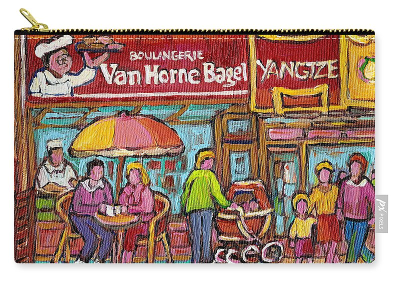 Van Horne Bagel Carry-all Pouch featuring the painting Van Horne Bagel Next To Yangste Restaurant Montreal Streetscene by Carole Spandau