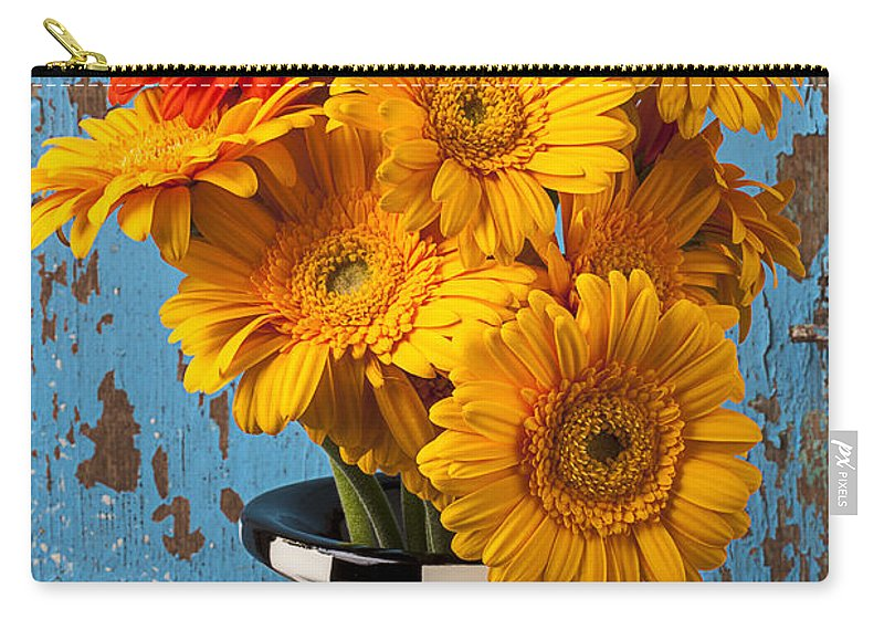 Vase Gerbera Carry-all Pouch featuring the photograph Vase With Gerbera Daisies by Garry Gay
