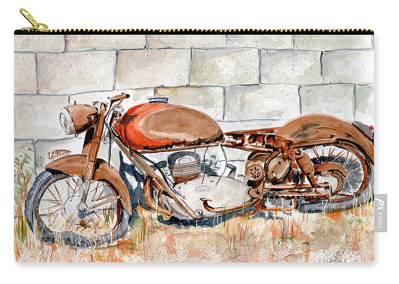 Still Life Carry-all Pouch featuring the painting Vecchia Gilera by Giovanni Marco Sassu