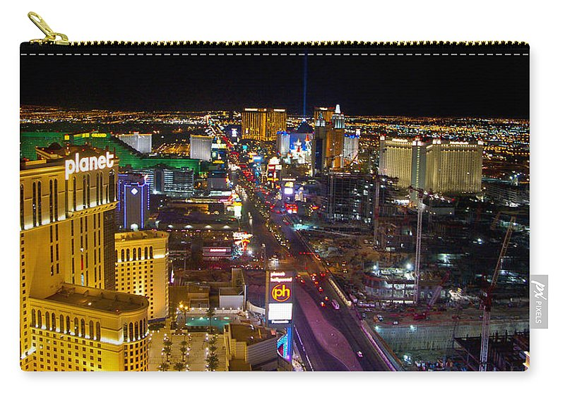 Las Vegas Carry-all Pouch featuring the photograph Vegas Strip At Night by Jon Berghoff