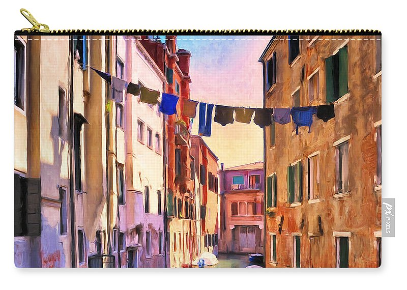 Venezia Carry-all Pouch featuring the painting Venice Alleyway by Dominic Piperata