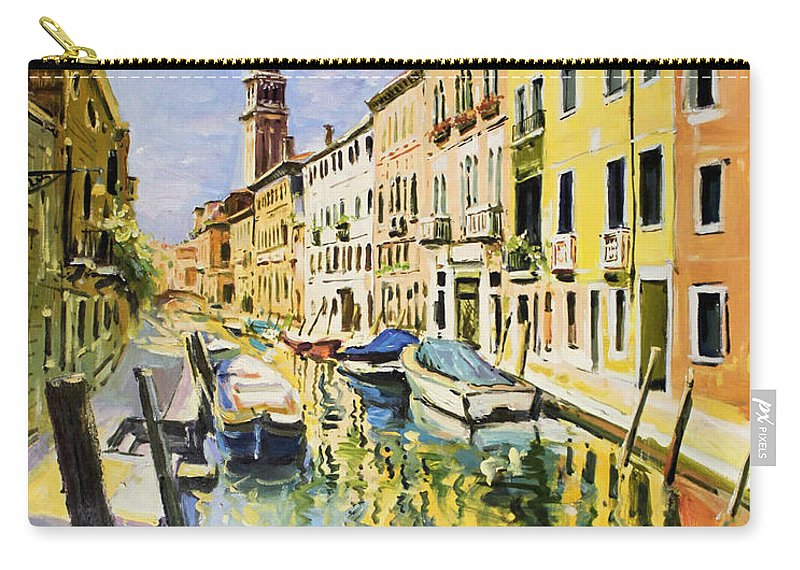Venice Canal Carry-all Pouch featuring the painting Venice Canal by Conor McGuire