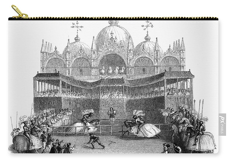 19th Century Carry-all Pouch featuring the photograph Venice: Tournament by Granger