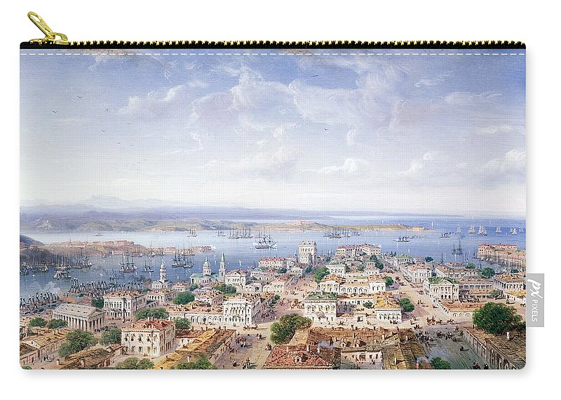 Bay; Ussr; Crimea; Ukraine; Sevastopol Carry-all Pouch featuring the painting View Of Sebastopol by Carlo Bossoli