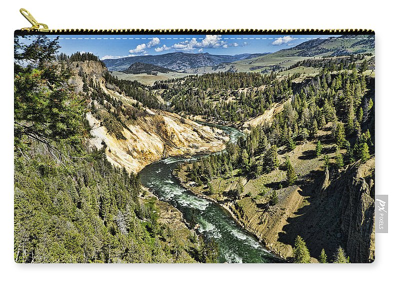 Yellowstone National Park Carry-all Pouch featuring the photograph View Of The River by Jon Berghoff