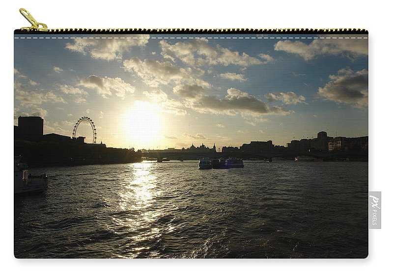 Clouds Carry-all Pouch featuring the photograph View Of The Thames At Sunset With London Eye In The Background by Ashish Agarwal