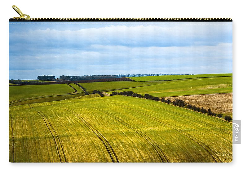 Bushes Carry-all Pouch featuring the photograph View On Fields by Svetlana Sewell