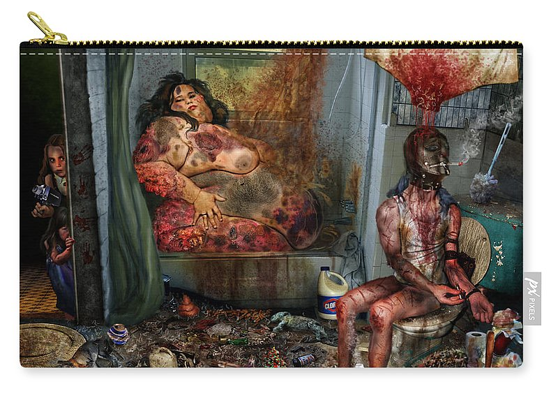The Mung Carry-all Pouch featuring the mixed media Vile World To View by Tony Koehl
