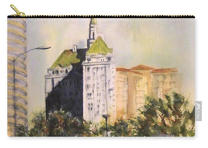 Villa Riviera Carry-all Pouch featuring the painting Villa Riviera by Debbie Lewis