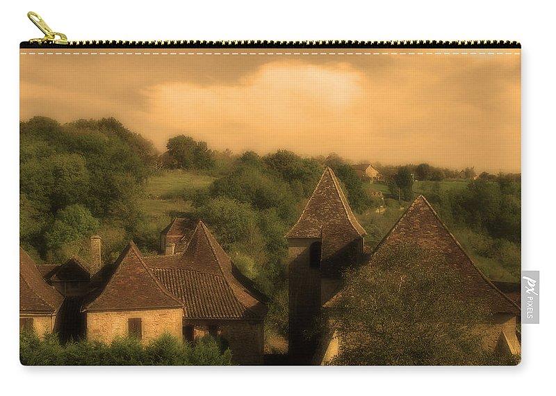 Castelnau Bretenoux Carry-all Pouch featuring the photograph Village Of Castelnau Bretenoux In Sepia by Greg Matchick