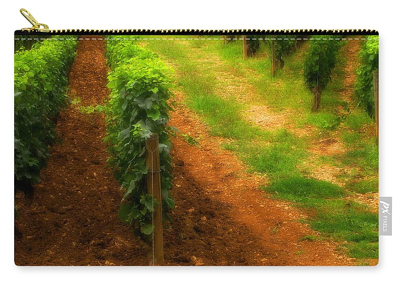 Vineyard Carry-all Pouch featuring the photograph Vineyard In Burgundy France by Greg Matchick