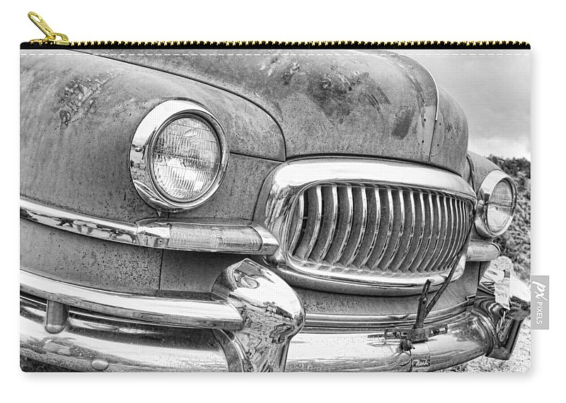 1951 Carry-all Pouch featuring the photograph Vintage 1951 Nash Ambassador Front End 2 Bw by James BO Insogna