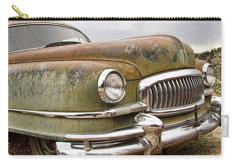 'front End' Carry-all Pouch featuring the photograph Vintage 1951 Nash Ambassador Front End by James BO Insogna