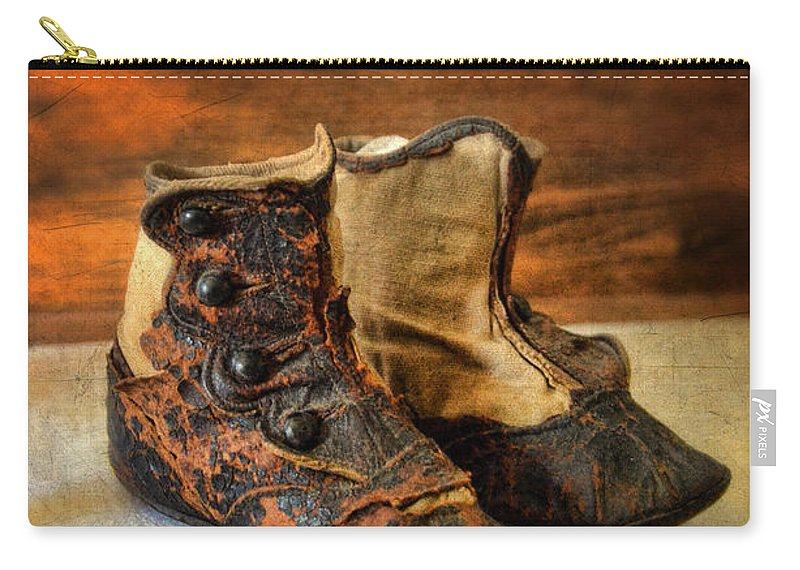Shoes Carry-all Pouch featuring the photograph Vintage Baby Shoes by Jill Battaglia