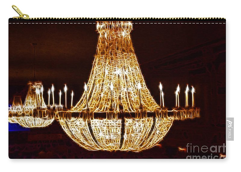Chandalier Carry-all Pouch featuring the photograph Vintage Ballroom Chandalier Fractal by Darleen Stry