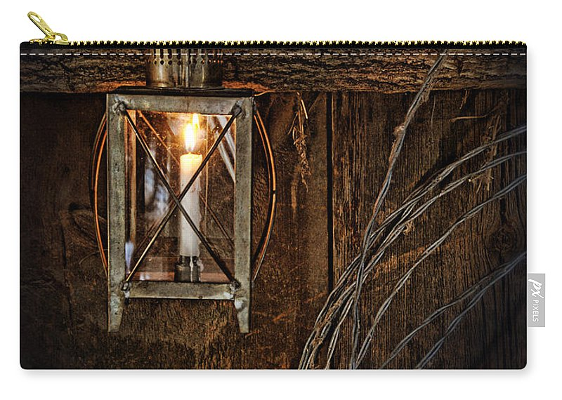 Lantern Carry-all Pouch featuring the photograph Vintage Lantern Hung In A Barn by Jill Battaglia