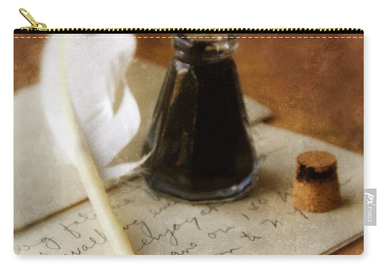 Vintage Carry-all Pouch featuring the photograph Vintage Letter And Quill Pen by Jill Battaglia