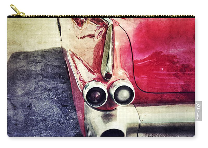 Car Carry-all Pouch featuring the photograph Vintage Red Car by Jill Battaglia