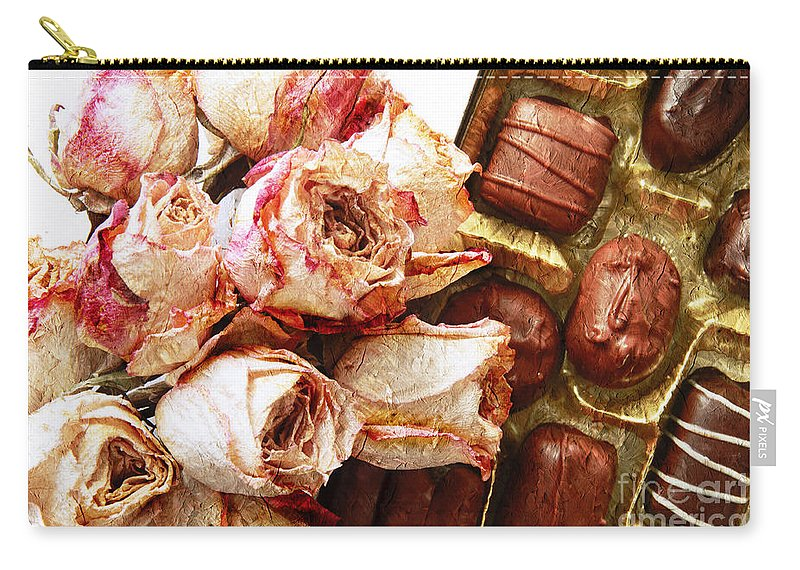 Box-of-chocolates Carry-all Pouch featuring the photograph Vintage Roses And Chocolates Painterly by Andee Design