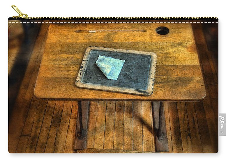 School Carry-all Pouch featuring the photograph Vintage School Desks by Jill Battaglia